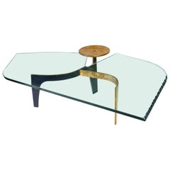 "Achille Salvagni ""Ares"" Coffee Table, Bronze Structure and Glass, Contemporary"