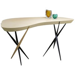 "Achille Salvagni, ""Aswan"" Desk, Parchment, Bronze, Murano Glass, Contemporary"