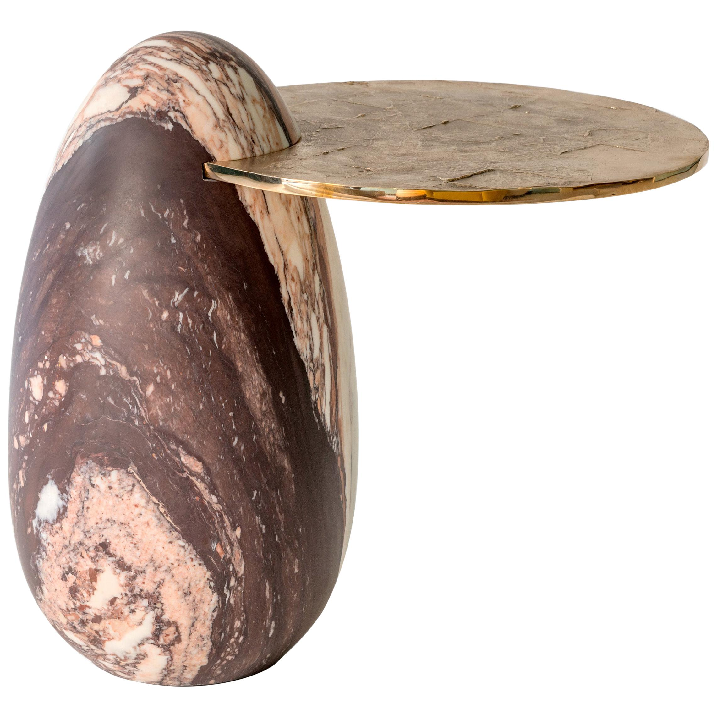"Achille Salvagni, ""Cosmedin Calacatta"" Side Table, Marble, Bronze, Contemporary"