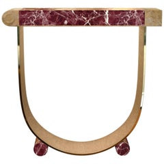 "Achille Salvagni ""Diomede Red"" Console, Rosso Levanto, Bronze, Contemporary"