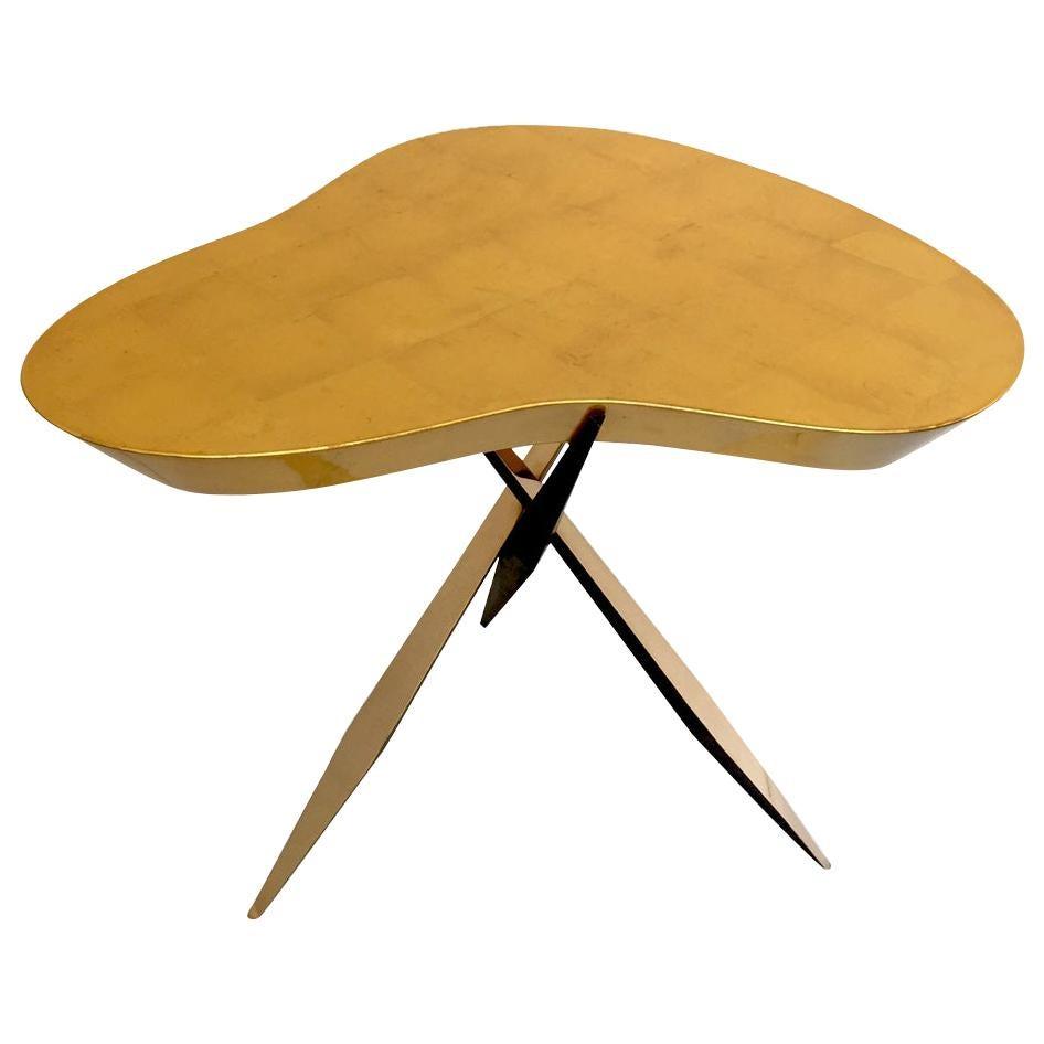 "Achille Salvagni, ""Drop Gold"" Side Table, Bronze, Gold Leaf, Contemporary"