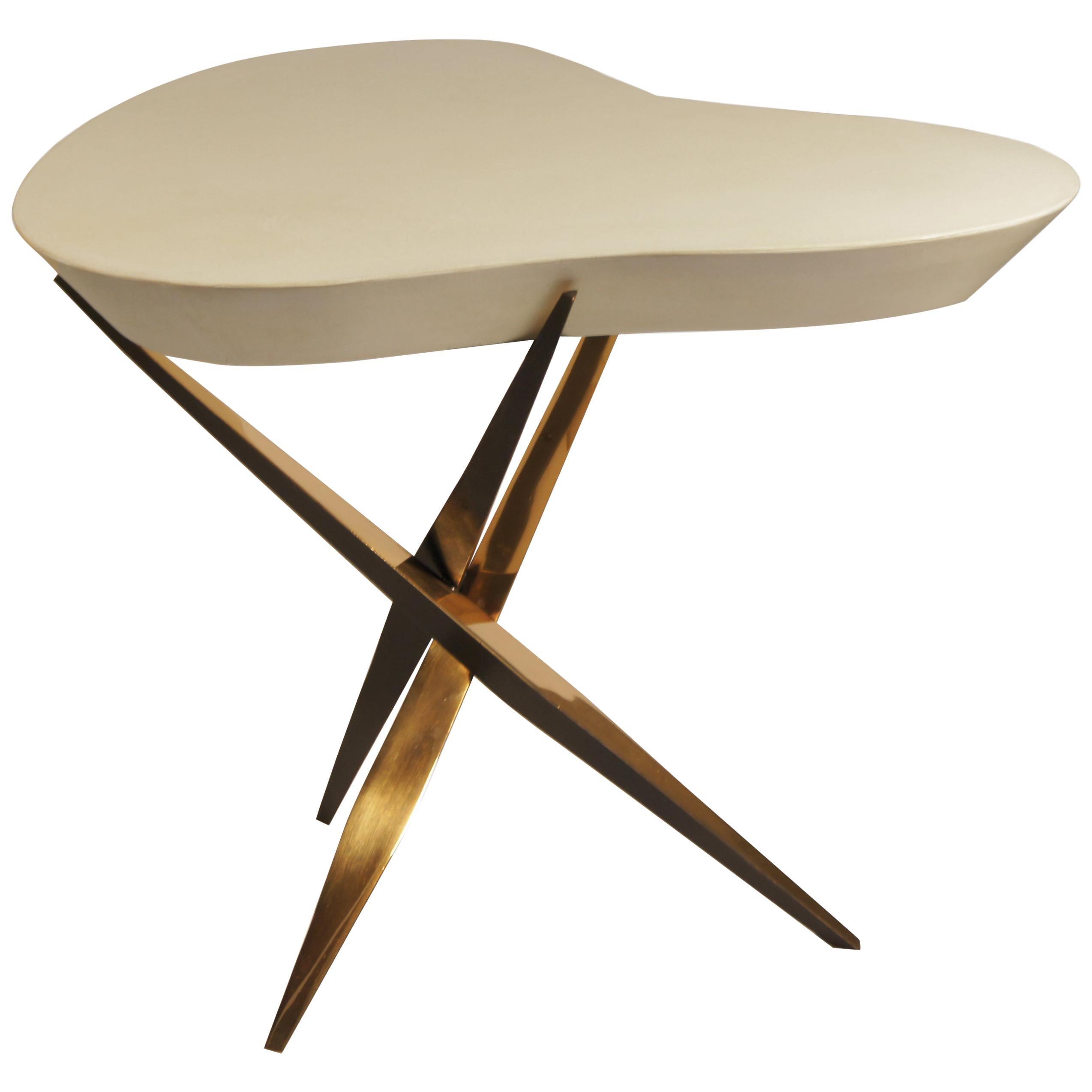 """Achille Salvagni, """"Drop Parchment"""" Side Table, Bronze, Parchment, Contemporary"""