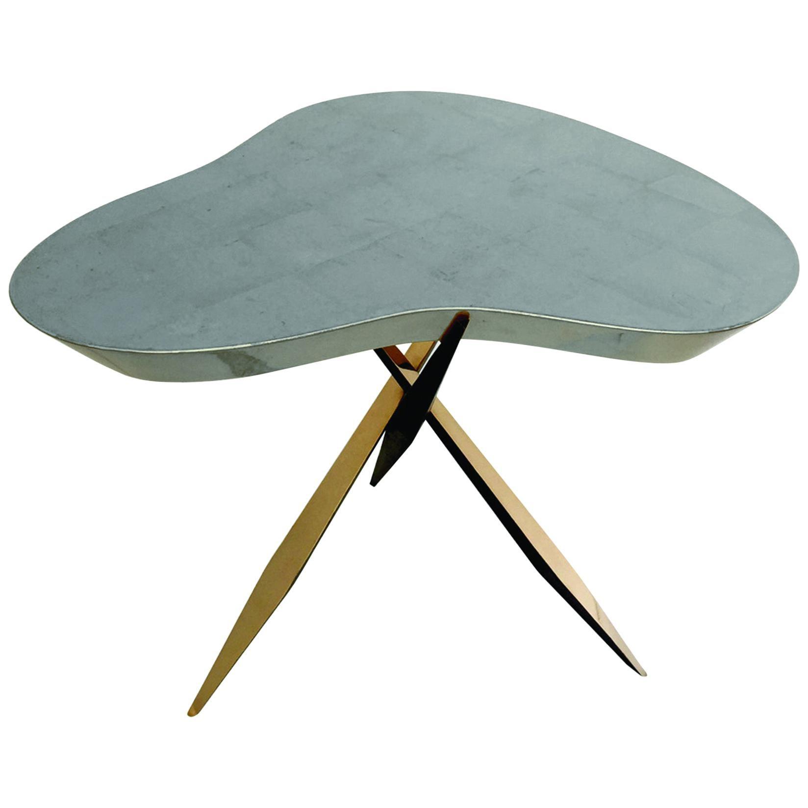 "Achille Salvagni ""Drop Platinum"" Side Table, Bronze, Platinum Leaf, Contemporary"