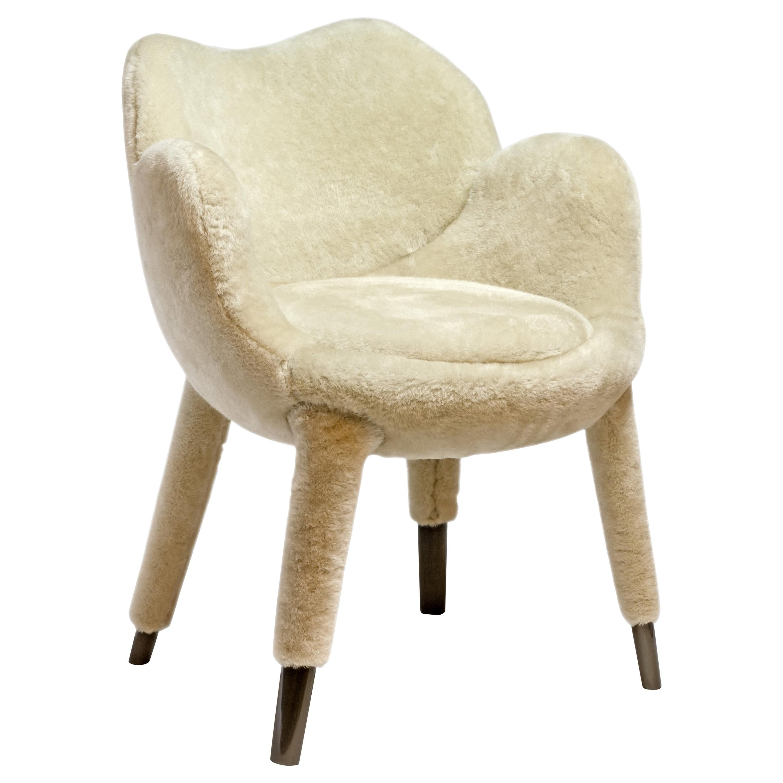 "Achille Salvagni, ""Frangipane"" Armchair, Lambskin Upholstery, Contemporary"
