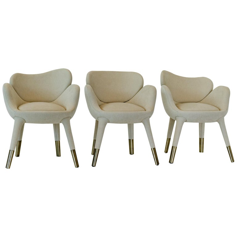 """Achille Salvagni, """"Frangipani"""" Dining Chair, Upholstery, Contemporary, Set of 12 For Sale"""