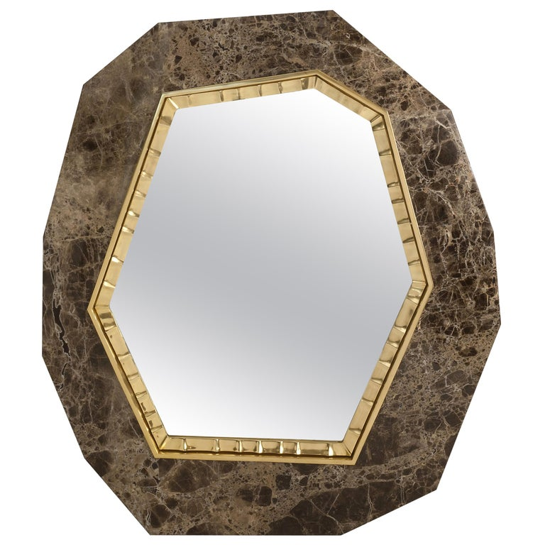 """Achille Salvagni, """"Lucy,"""" Marble and Bronze Mirror, Italy, 2013 For Sale"""