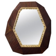 "Achille Salvagni ""Lucy Wood"" Mirror, European Walnut, Bronze, Contemporary"