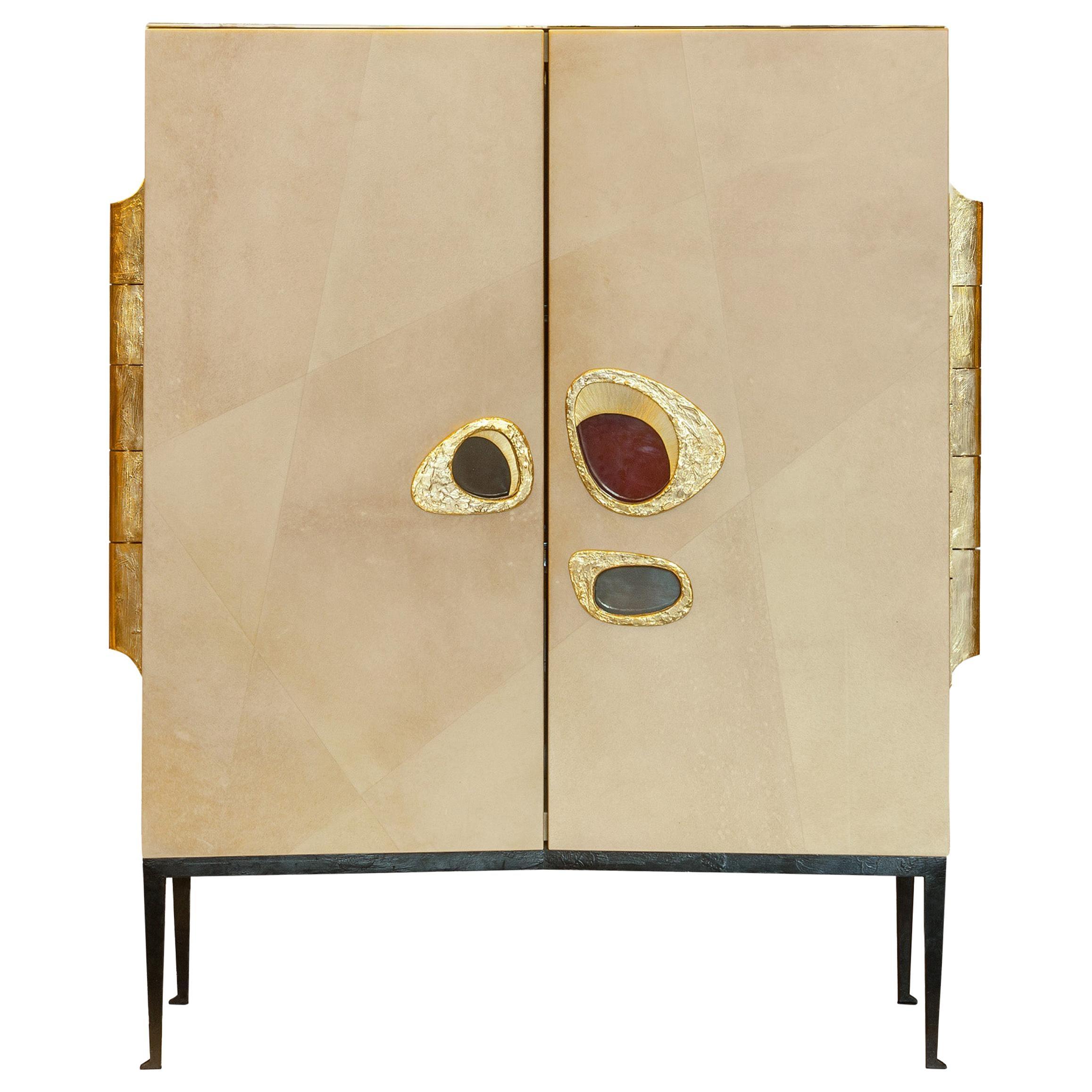 "Achille Salvagni ""Nerone"" Bar Cabinet, Parchment, Bronze, Contemporary"