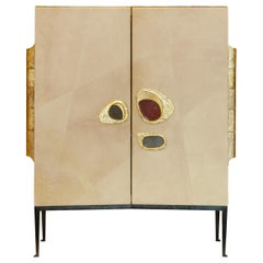 "Achille Salvagni ""Nerone"" Bar Cabinet, Parchment, Bronze, Contemporary"