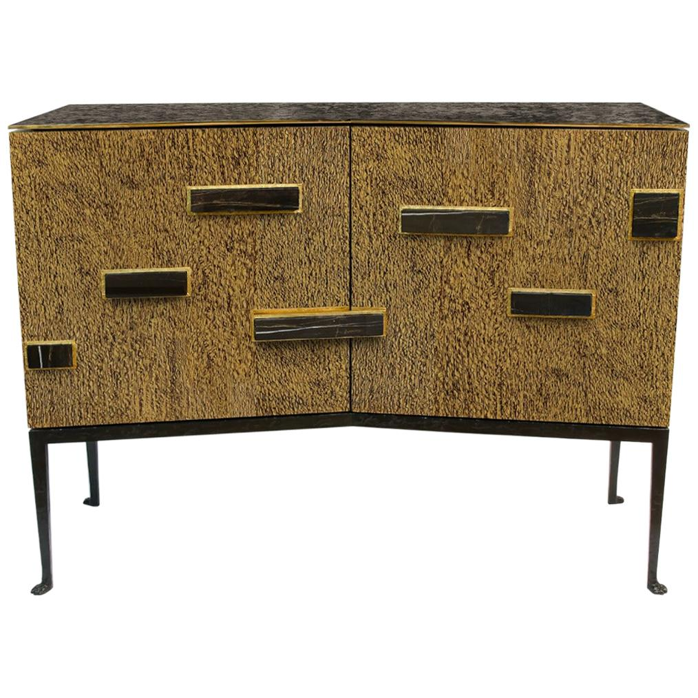 """Achille Salvagni """"Palatino Lacewood"""" Cabinet, Lacewood, Bronze, Contemporary"""
