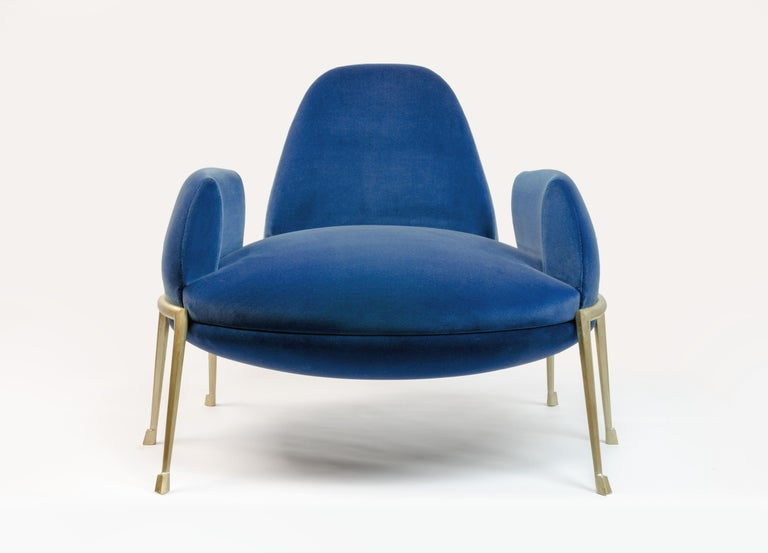 Achille Salvagni Papillia armchair 2018 Upholstered side chair upholstered in tufted velvet with cast bronze frame featuring six bronze legs and a wide seat cushion and elegantly designed parabolic back. Inspired by the world of insects, Papillia