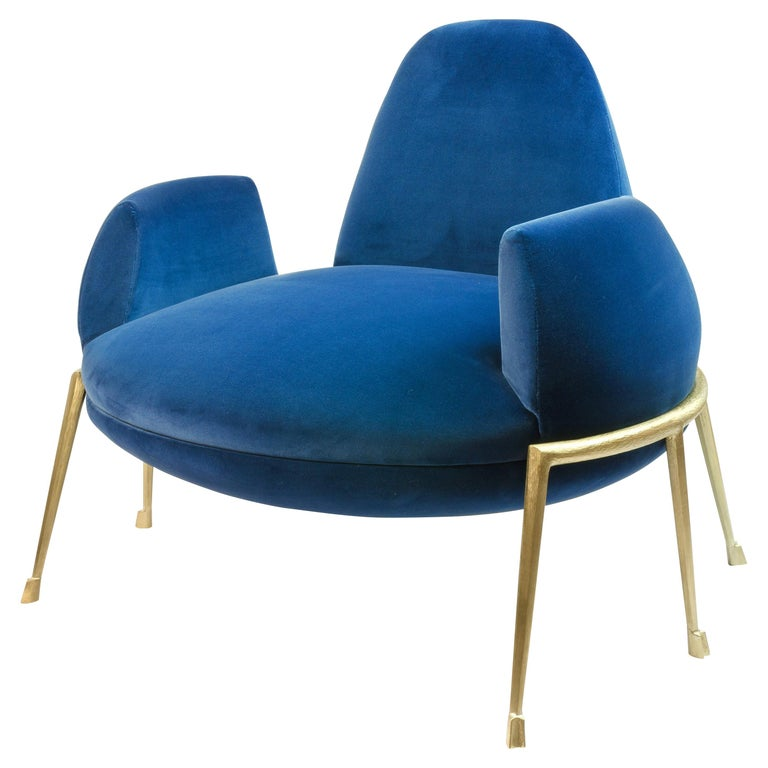"Achille Salvagni, ""Papillia Side Chair"", Velvet Upholstery, Bronze, Contemporary For Sale"