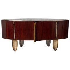 "Achille Salvagni ""Roma"" Cabinet, French Polished Walnut, Bronze, Contemporary"