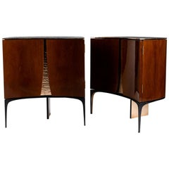Achille Salvagni, Ronin, Pair of Walnut and Bronze Bedside Tables, Italy, 2018