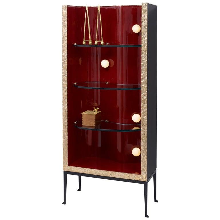 """Achille Salvagni """"San Lorenzo B"""" Bookshelf, Bronze, Onyx, Lacquer, Contemporary For Sale"""