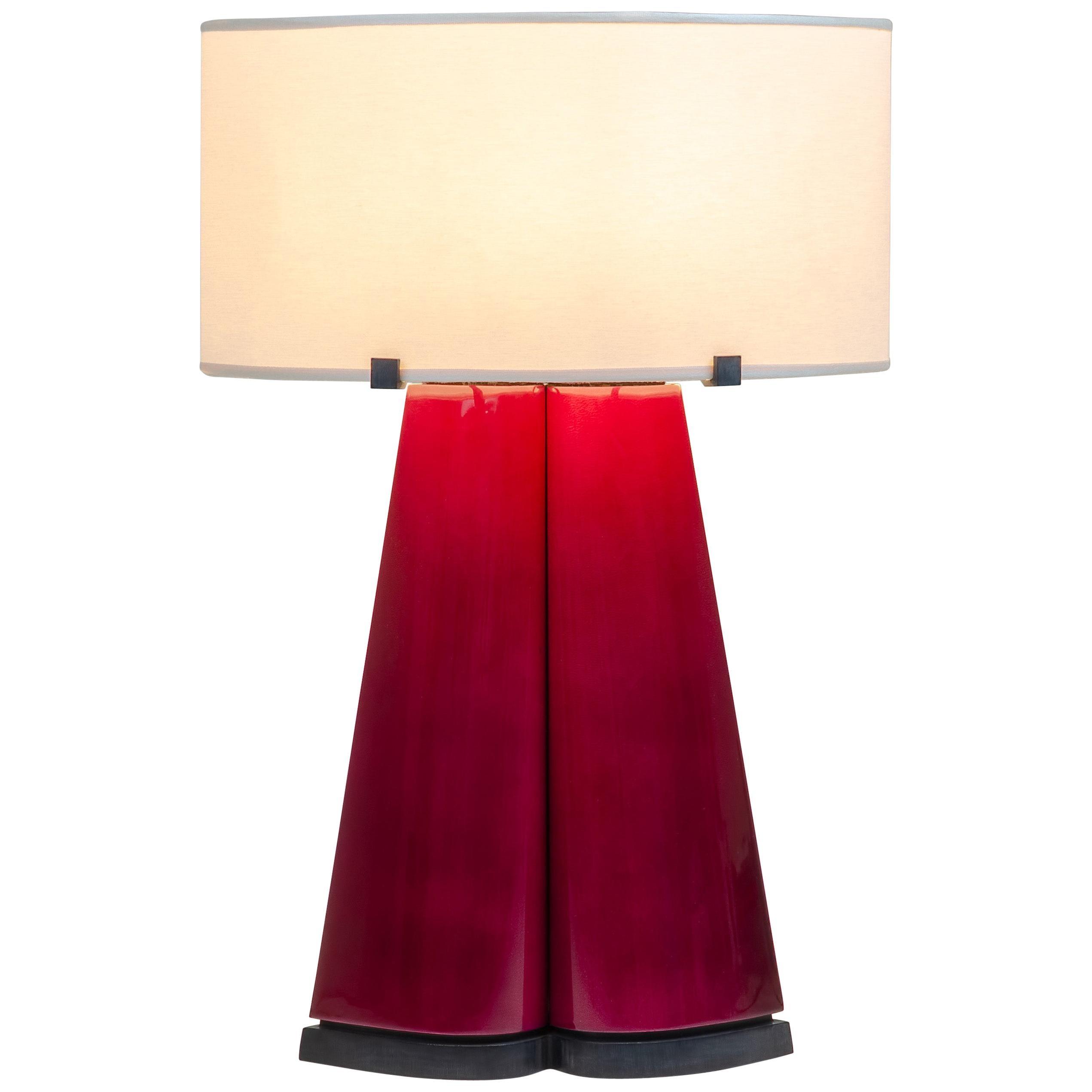 "Achille Salvagni ""Sotirio Red"" Table Lamp, Parchment and Bronze, Contemporary"