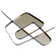 "Achille Salvagni ""Squiggle A"" Mirror, Polished and Burnished Brass, Contemporary"