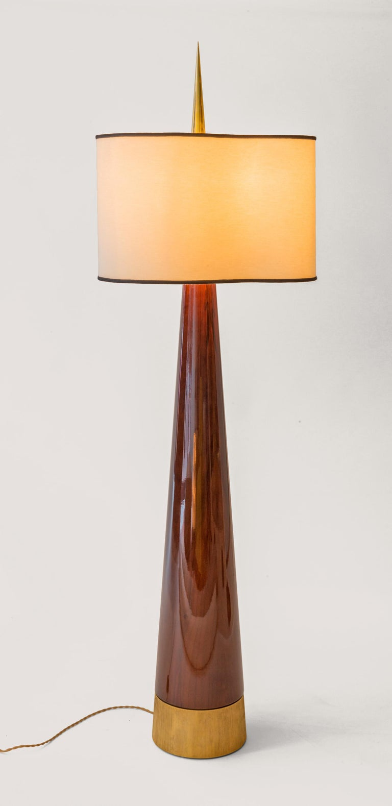 Achille Salvagni Sting Magnum 2016 Conical lamp base in European walnut with French polished finish with cast bronze, 24ct gold-plated base and polished and protected smooth brass finial with organic silk lampshade. Limited Edition of 20 * Price (ex