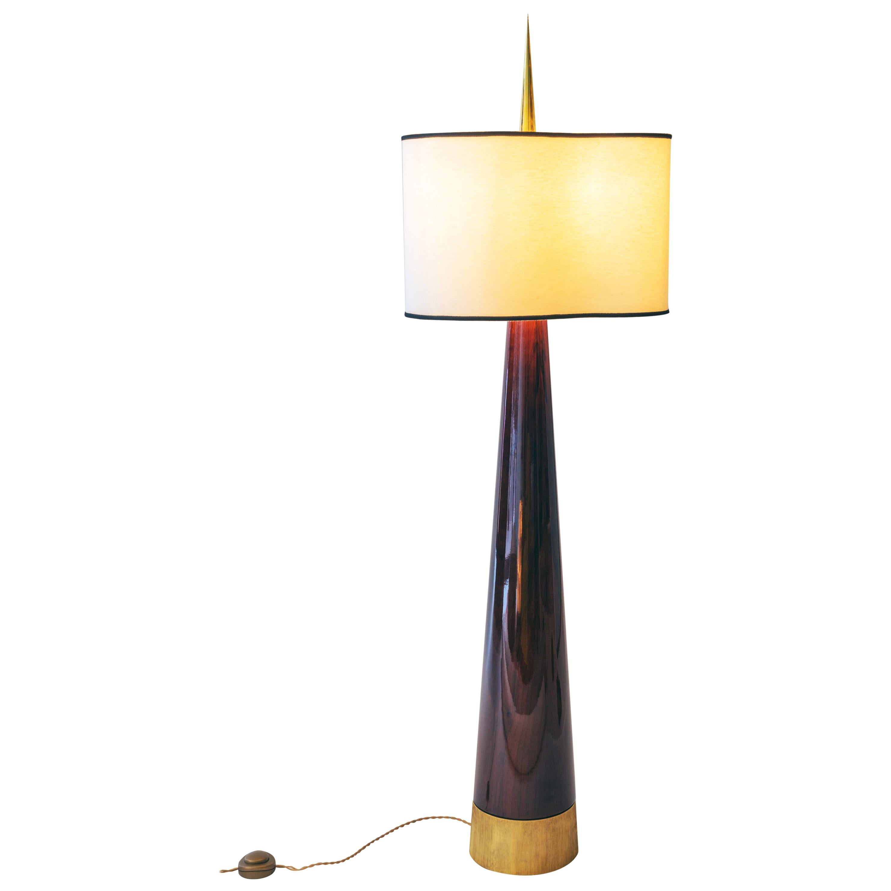"""Achille Salvagni """"Sting Magnum"""" Floor Lamp, Walnut, Bronze, Contemporary"""