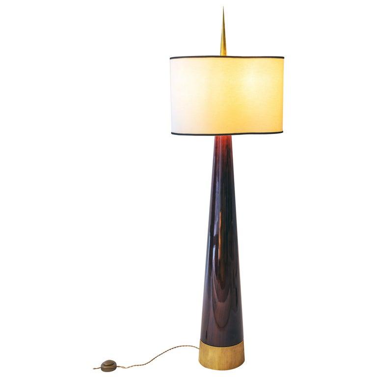"""Achille Salvagni """"Sting Magnum"""" Floor Lamp, Walnut, Bronze, Contemporary For Sale"""