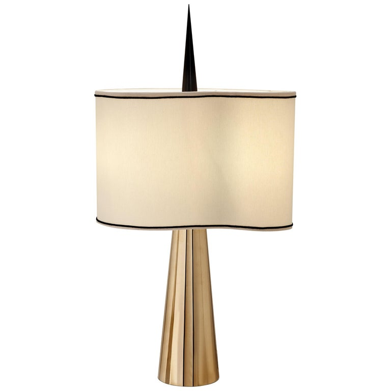 """Achille Salvagni """"Sting"""" Table Lamp, Burnished and Polished Brass, Contemporary For Sale"""