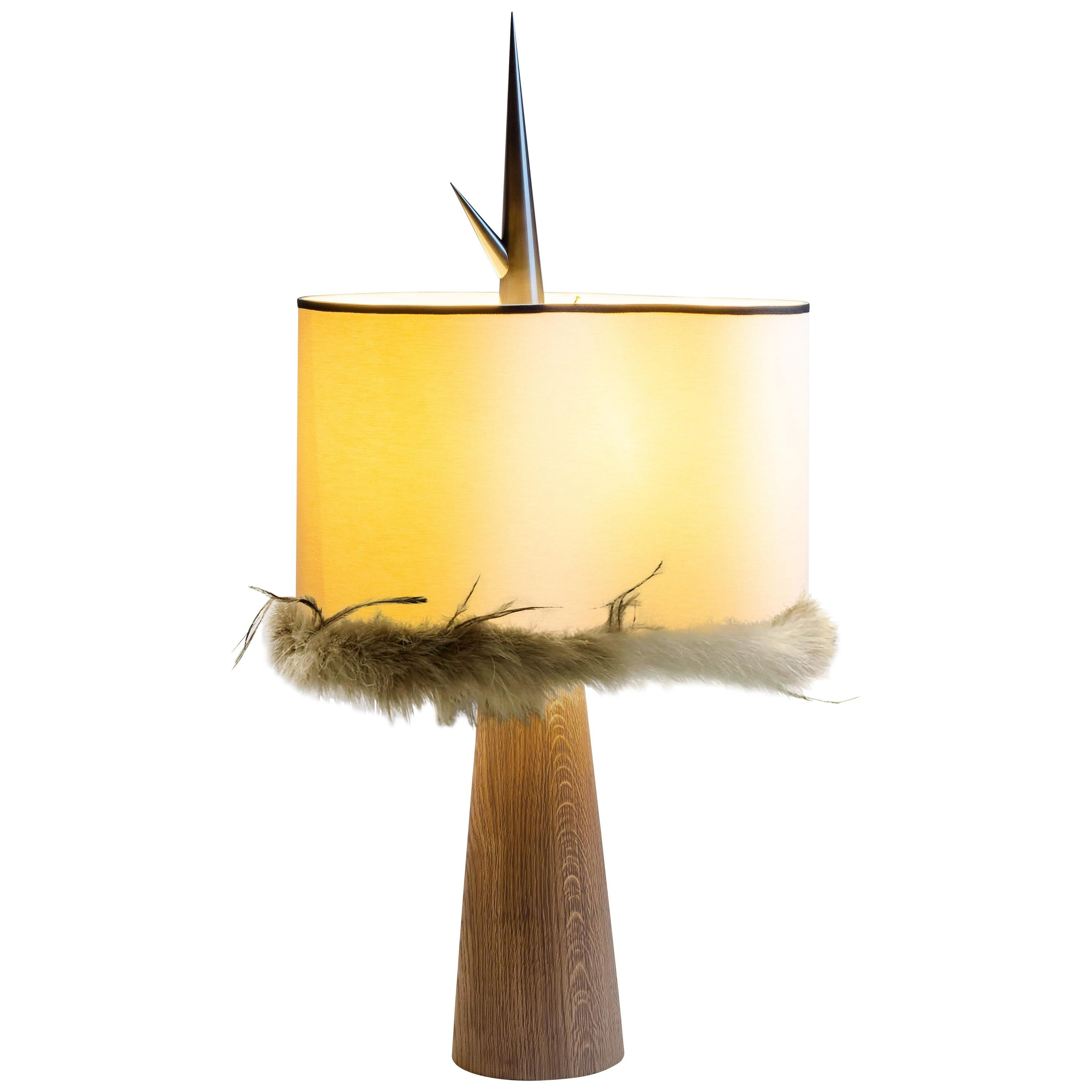 """Achille Salvagni """"Sting Wood"""" Table Lamp, Wood and Brass, Contemporary"""