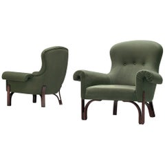 Achilli, Brigidini & Canella Pair of 'Quadrifoglio' Green Lounge Chairs