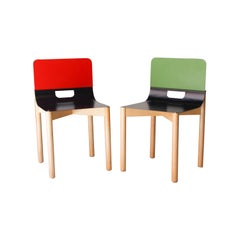 Achodoso Studio ''Simply'' Wood Steel Red Green Chair, Spain, 2019