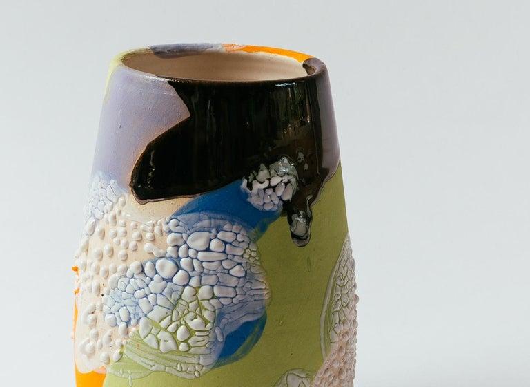 Modern Acid Camo Stoneware Vase or Planter by Raina Lee For Sale