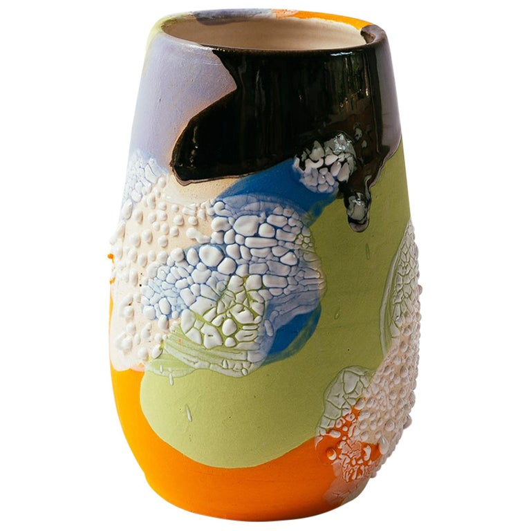 Acid Camo Stoneware Vase or Planter by Raina Lee For Sale