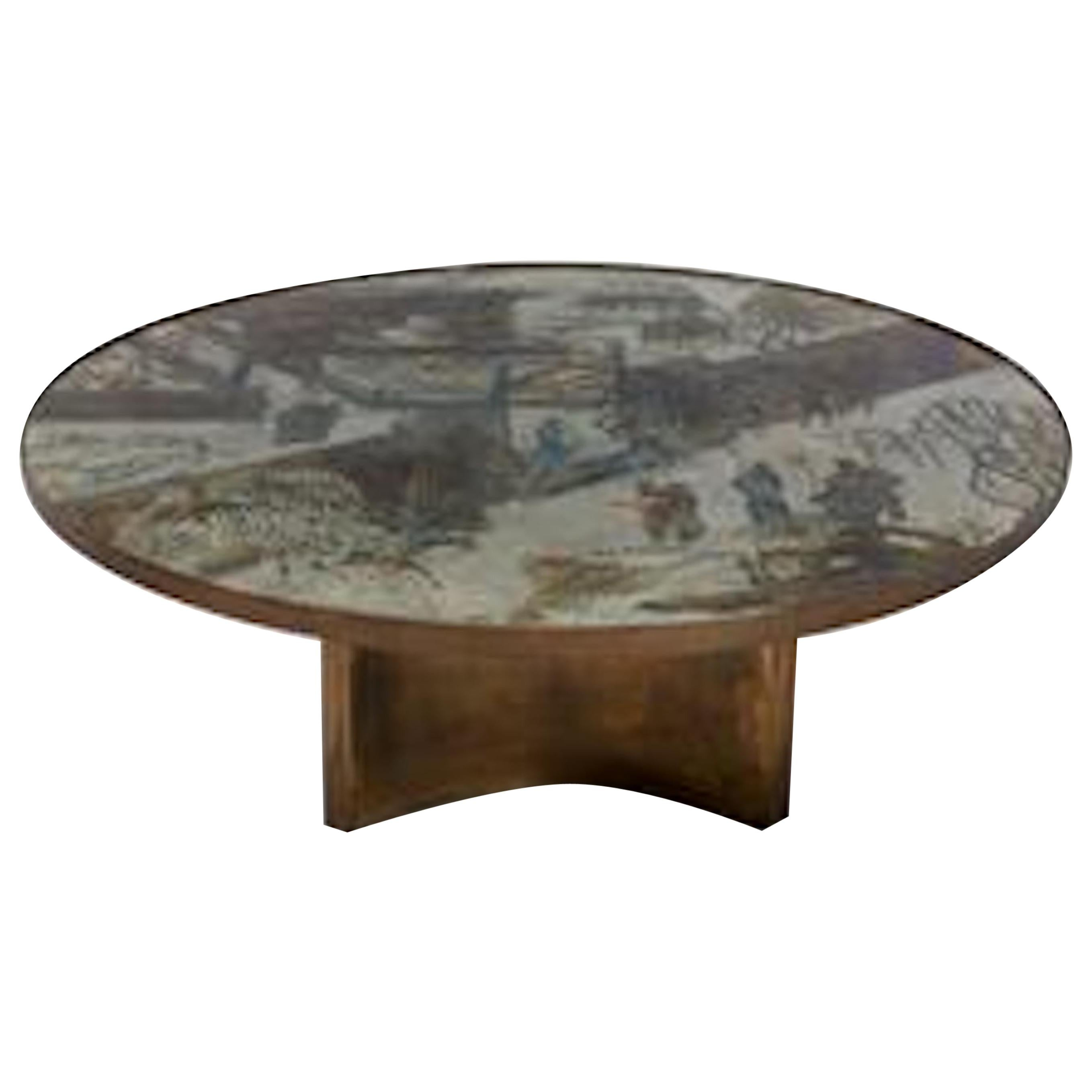 """Acid Etched and Brass """"Chan"""" Circular Coffee Table by Philip and Kelvin LaVerne"""