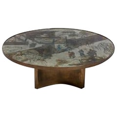 "Acid Etched and Brass ""Chan"" Circular Coffee Table by Philip and Kelvin LaVerne"