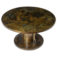Acid Etched Bronze 'Classical' Cocktail / Game Table by Philip & Kelvin Laverne