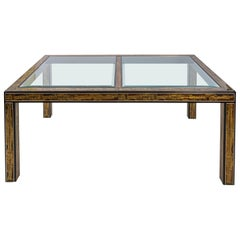Acid Etched Glass Top Dining Table by Bernhard Rohne for Mastercraft