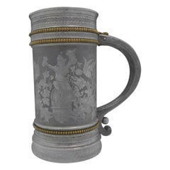 Acid Etched Mixed Metals Figurative Mug by Gorham Marked Number 11