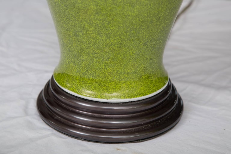 Hand-Crafted Acid Green Baluster Shaped Table Lamps For Sale