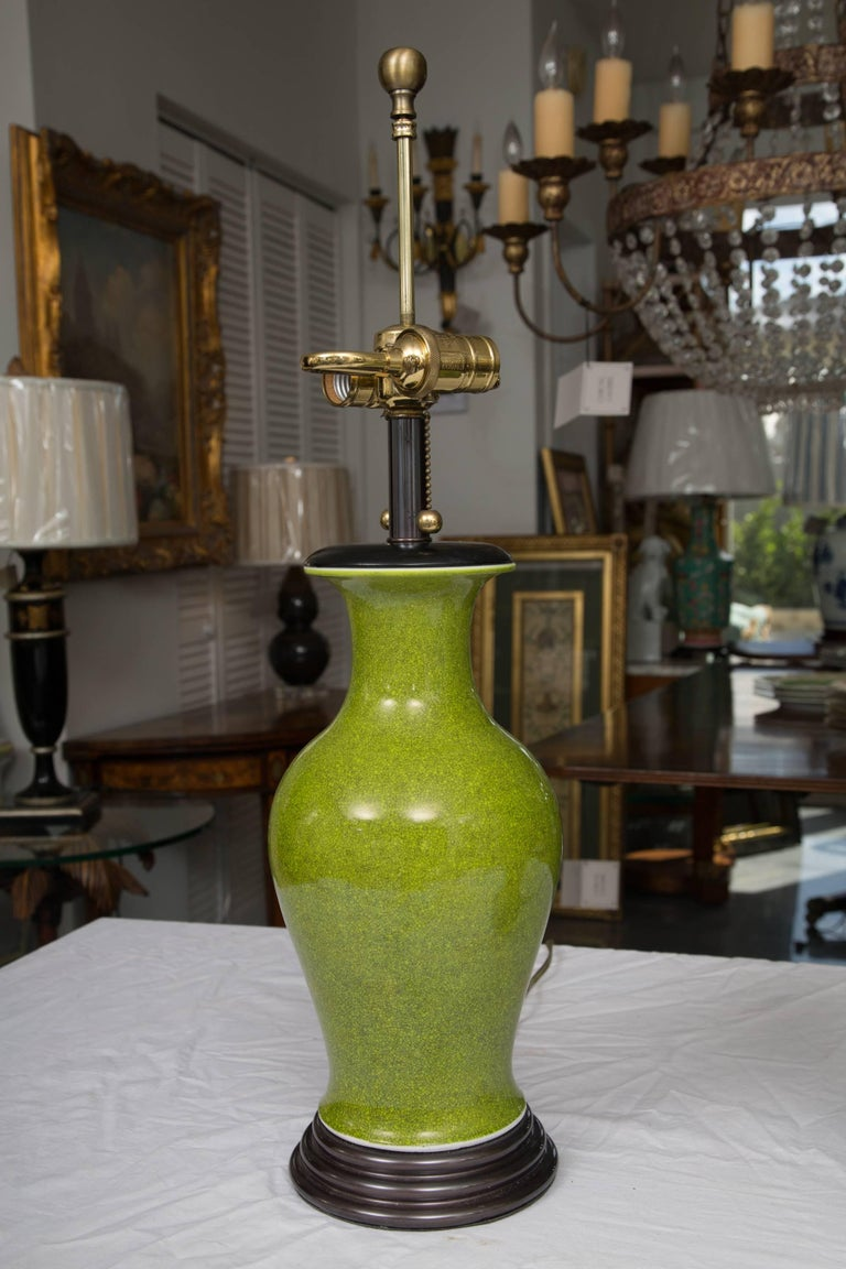 Acid Green Baluster Shaped Table Lamps In Good Condition For Sale In WEST PALM BEACH, FL