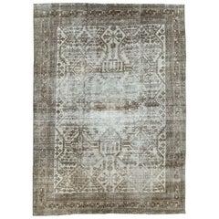 Acid Washed and Distressed Mid-20th Century Persian Joshegan Room Size Carpet