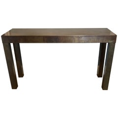 Acid Washed Bronze Parsons Console by Mastercraft