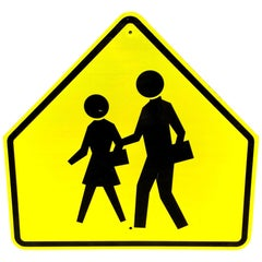 Acid Yellow Reflective Pedestrian Road Sign from Los Angeles