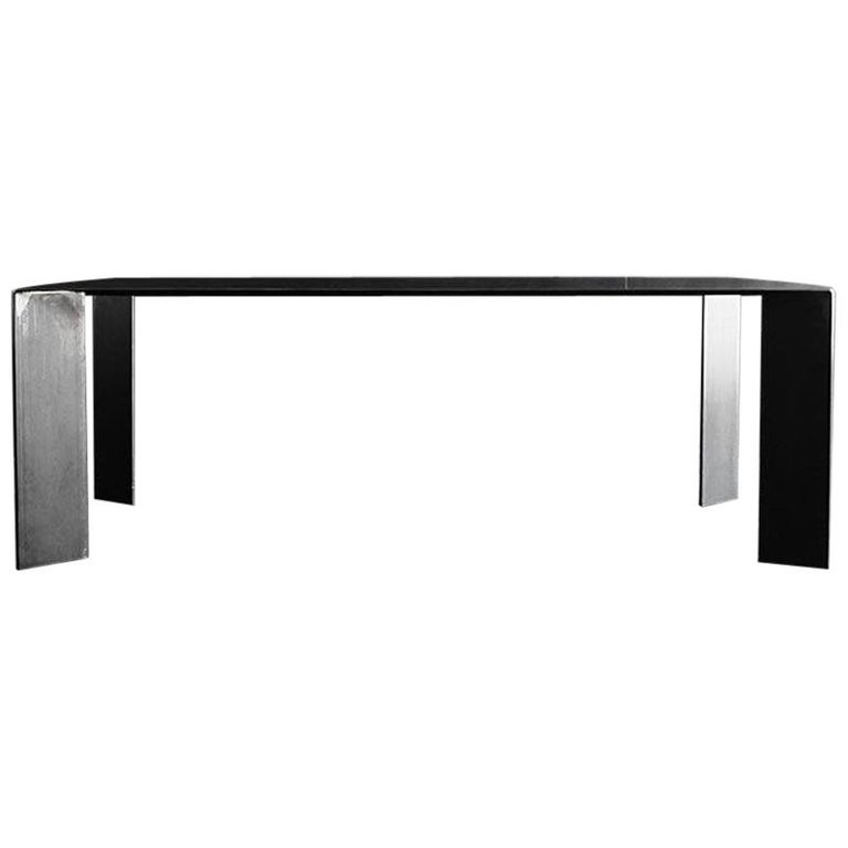 Acier Black Dining Table in Handcrafted Steel For Sale