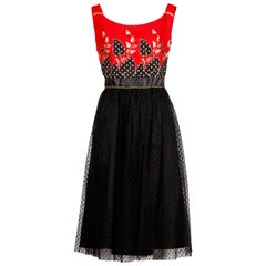 1970s Vintage French Silk + Lace Applique Dress