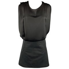 ACNE Size 6 Black Pleated Satin Top A Line Skirt Dress
