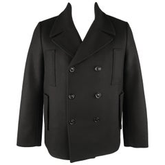 ACNE STUDIOS 40 Black Wool Peacoat