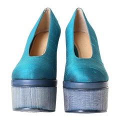 ACNE STUDIOS Alice turquoise blue thai silk covered platform round toe pump EU37
