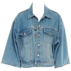 ACNE STUDIOS blue washed denim dual pocket wide 3/4 sleeve jean jacket FR38 S