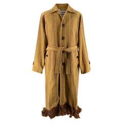 Acne Studios Brown and Yellow Oles Blanket Coat - EU44