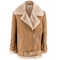 Acne Studios Nude Suede Belted Shearling Jacket 34