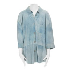 ACNE STUDIOS washed blue suede leather cropped sleeves oversized shirt S