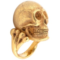A.Codognato Large Gold Skull Ring